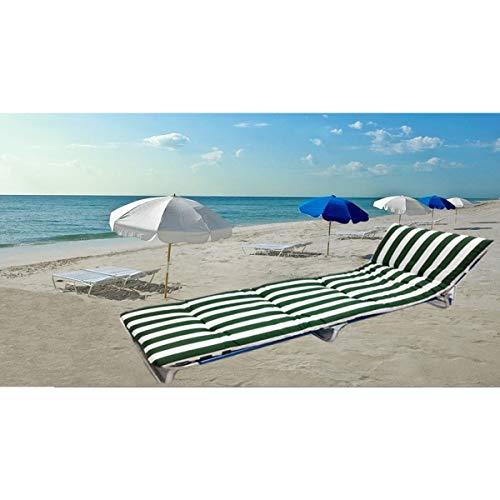 Cisne 2013, S.L. Cojín Colchón para Tumbona o Mueble para Jardín, Playa, Exteriores. Cojín Suave Asiento terraza etc. Medidas 180x50x8cm. Diseño Rayas Verdes.