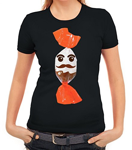 (Karneval Fasching Verkleidung Damen T-Shirt Gruppen & Paar Kostüm Schokoladenmännchen, Größe: L,Schwarz)