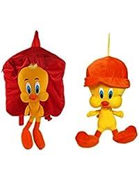MGP Premium Tweety Kids School Bag (Red) With Tweety Cap Toy 30cm