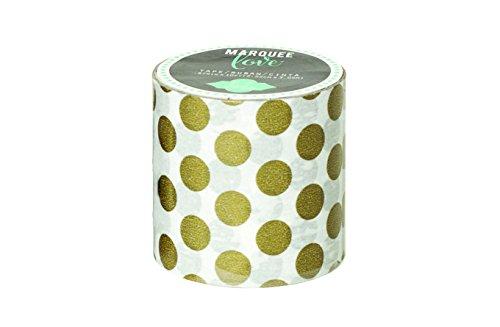 Heidi Swapp Marquee Tape Washi Cinta Adhesiva Lunares de Oro, Papel de Arroz, Dorado, 5x4x4 cm
