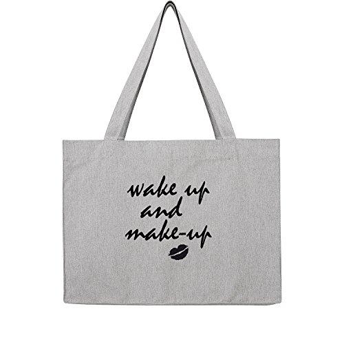wake up and make up Bag Frauen Shopper grau Jute Beutel Handtasche Strand Sommer faltbar groß bedruckt mit Motiv (384-U762-Grau)