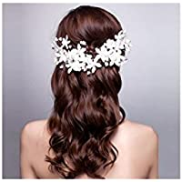 Oro mariposa @ Bride Headdress Blanco hecho a mano perla Headdress flores de encaje Corea del pelo de la boda accesorios Accesorios de vestido de boda