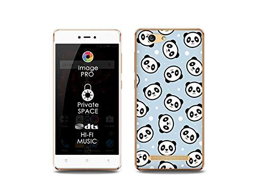 etuo Handyhülle für Allview X3 Soul Lite - Hülle, Silikon, Gummi Schutzhülle Fantastic Case - Panda auf blauem Grund