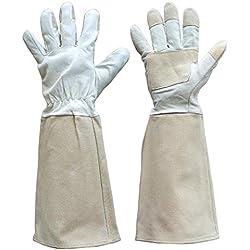 Thornproof Leder Gartenhandschuhe Langarm für Frauen und Männer, Rose Beschneiden Floral Gauntlet Garten Handschuhe (L)