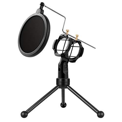 Homyl 1 Stück Stativhalterung Inkl. Mikrofon Pop-Filter, Doppelte Geräuschreduzierung mit Doppel-Mesh-Membran-Pop-Filter-Design -