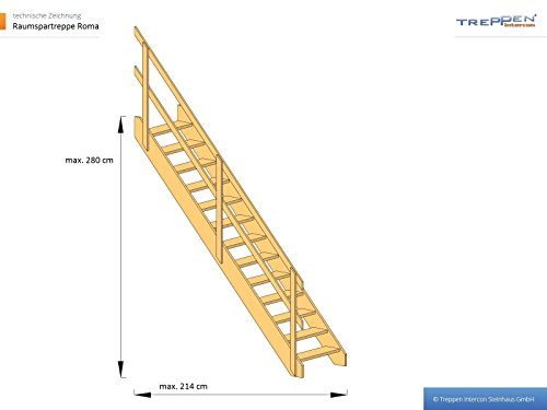 Profigold Loft Space Saving Steps with Double Handrail Up To 280 cm Height Roma Spruce