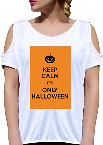 T SHIRT JODE GIRL GGG27 Z2571 KEEP CALM IT'S ONLY HALLOWEEN PARTY PUMPKIN FUNNY FASHION COOL BIANCA - WHITE