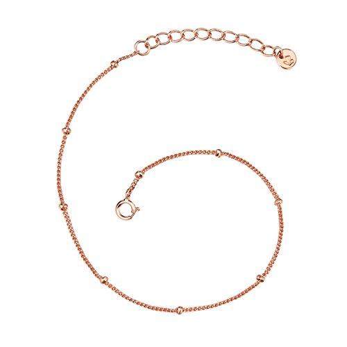 Glanzstücke München Damen-Armband Kugeln Sterling Silber rosévergoldet 17 + 3 cm - Silberarmkettchen mit Kügelchen in Roségoldfarben