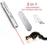 GFEU 3 In1 Gracioso Gatos Interactivo Juguete USB Recargable, LED Mascota Gato Captura Juguetes De Entrenamiento