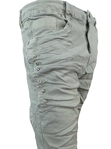 Strass Denim Stretch Baggy-Jeans Boyfriend Grandes Tailles été gris