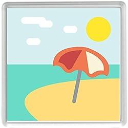 Playa con sombrilla Emoji 58mm x 58mm Nevera Imán/Beach with Umbrella Emoji 58mm x 58mm Fridge Magnet