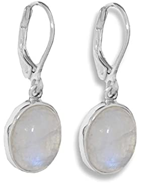 ERCE Regenbogen-Mondstein Edelstein Ohrringe oval, 925 Sterling Silber, Länge 3 cm im Geschenketui