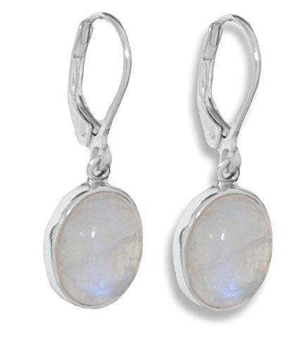 ERCE Regenbogen-Mondstein Edelsteinschmuck Ohrringe oval, 925 Silber, Länge 3 cm - Ohrringe Oval Silber