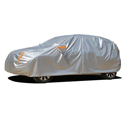 Kayme Quattro Strati Telo Copriauto con Cerniera Auto Impermeabile Pieghevole Anti UV Anti Pioggia Sole da Esterno Interno, per Hatchback(450x185x150CM)