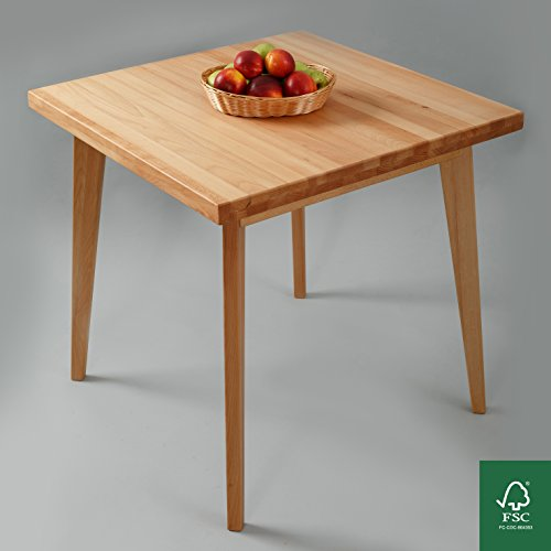 Esstisch Massivholz Buche 100% FSC Hans Esszimmertisch Massivholz Tisch (75x 75 x 75 cm