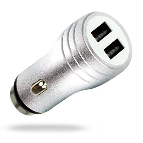 MyGadget Dual USB Auto Ladegerät - 2 Ports (2,1A / 1A) Mini KFZ Ladeadapter - Handy Zigarettenanzünder Adapter z.B. für iPhone, Samsung Galaxy - Silber (Dual Adapter Apple-handy-ladegerät)