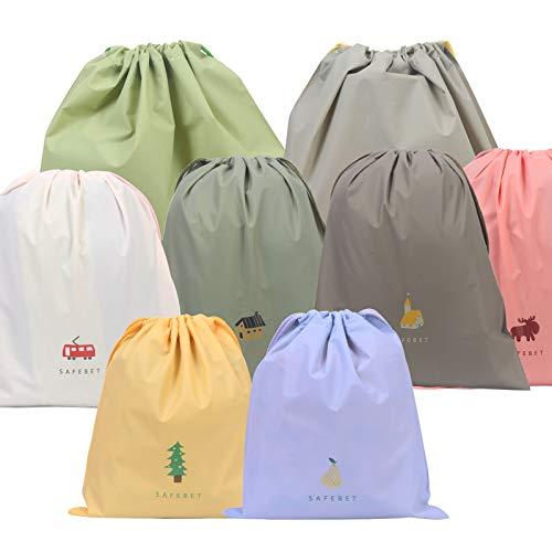 ZERHOK 8tlg Packbeutel Bunt Stoffsack Wasserdicht Tunnelzug Packsack Organizer Reise Tasche mit 3 Größen Beutel für Kosmetik Unterwäsche Schuhe Iii-beutel