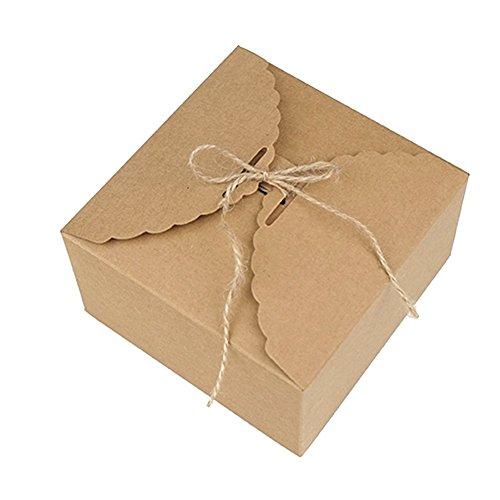 Qinlee Papier Kraftpapier Kuchen-Box Plätzchen-Kasten Backverpackung Geschenkbox DIY Falten Verpackungskisten ohne Seil Kraftpapier Kasten (10 pcs)