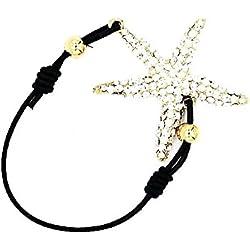 Damen Accessoire Armband Seestern Glitzer Strasssteine Modeschmuck Armschmuck Damenschmuck (8437) (gold)