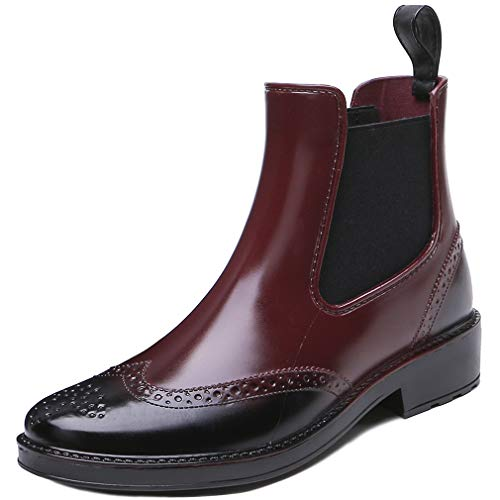 Wellington Boots Womens Short Welly Boots Brogue Waterproof Boots Ladies Rain Ankle Boot Work Business Garden Yard Shoes Black Brown Red Khaki Size 3.5-7.5 UK