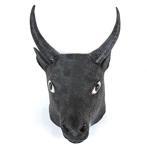 Circlefly Natürlicher Latex Kopfbedeckungen Maske Halloween Kostüm Ball Leistung Requisiten großen Schwarzen Stier - Herren Stier Kostüm