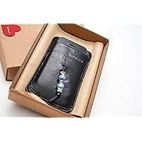 Custodia in pelle Fantasia con perle monocolore - Nero lucido per Apple iPhone 4, iPhone 5 / Microsoft Lumia 435, Lumia 532, Motorola Moto E, Moto G LTE, NGM Dinamic, WeMove Action / Nokia Lumia 635 / Samsung A3, Ace 3, Ace 4, Galaxy S3 mini, Galaxy S4 mini, Galaxy S5 mini / Sony Xperia / Wiko