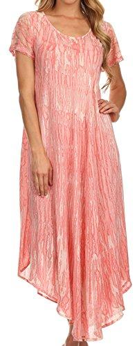 Sakkas 14802- Faye Kappe Ärmeln Baumwolle Kaftan Vertuschung-Kleid- rosa-One Size (Kaftan Stickerei Mit)