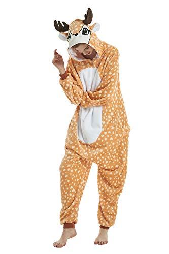 Missley Warm Elch Pyjama Weich Flanell Einhorn Onesies Schön Halloween Tier Cosplay Kostüm Kinder Erwachsene (Elch, L) (Erwachsene Elch-kostüm Für)