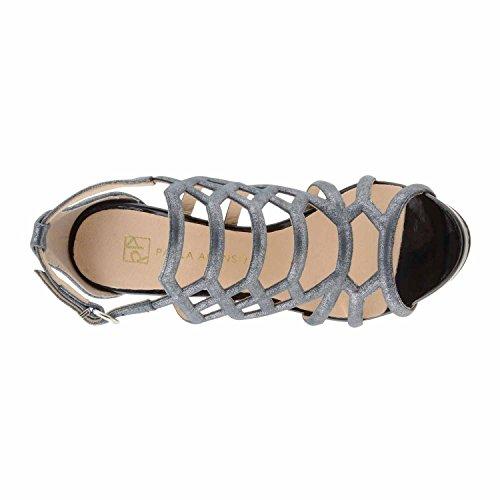 Sandales à talons en cuir verni Noir