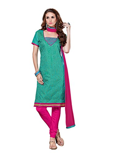 Blissta Green Chanderi Printed Party wear Dress Material(Diwali special 2017, ,great indian festival sale,festival offer,best deals of the day,traditional for women,sales offers)  available at amazon for Rs.649