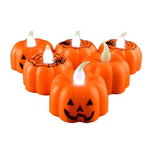 Tdhappy Classic Kerze Laterne Kürbis Design Kleine LED Robuste Indoor Kerzenlampe Kerze Laterne Halloween Party Dekoration 1 pcs