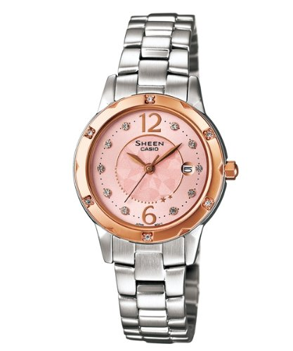 Casio Women's Sheen SHE4021SG-4A Silver Stainless-Steel Quartz Watch with Pink Dial