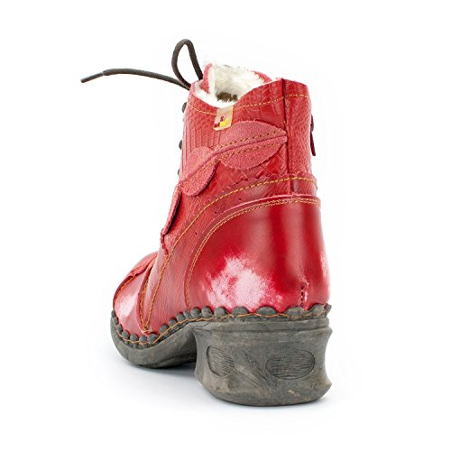 TMA SEELENlook Damen Winter-Stiefeletten, Echtleder, Farbvarianten, Größen 36-42/43 Feuerrot