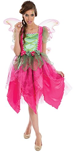 Chaks c4141s, Damen Kostüm Fee Blume Luxus Erwachsene pink grün Karneval Fasching (M)