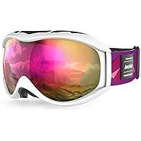 Andake 7 Farben wählbar   für Brillenträger   Anti-Fog Anti-Kratzen/Beschlag UV400-Schutz   verspiegelte sphärische Linse Schwarz Skibrille Goggle Snowboardbrille Herren Damen Erwachsener