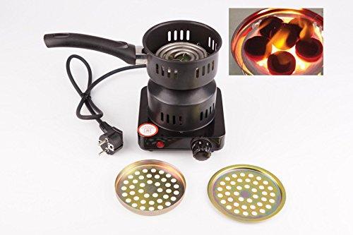Neudorf Mini Herd (Espressokocher) Kochplatte Shisha Kohleanzünder/ 650 Watt/ Ø Heizzone ca. 11 cm/ Autothermostat (Hitzeeinstellung mit Drehregler), Betriebsleuchtdiode/ 230-110 V 50-60 Hz/ Edelstahl (schwarz)