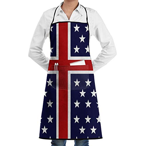 Usa Nordic Flag Unisex Schürze mit Taschen für Küchenchef Restaurant BBQ Grill Baking Coffee Shop und Studio