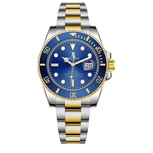 XLORDX Herren-Automatikuhr Datum Kalendar Analog mit Gold Silber Edelstahl-Armband,Blau Zifferblatt