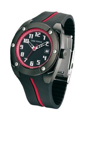 Time Force - TF2908M14 - Montre Homme - Quartz Analogique - Cadran Noir - Bracelet en Caoutchouc Noir et rouge