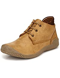 Prolific Men Beige Leather Sneakers Boots