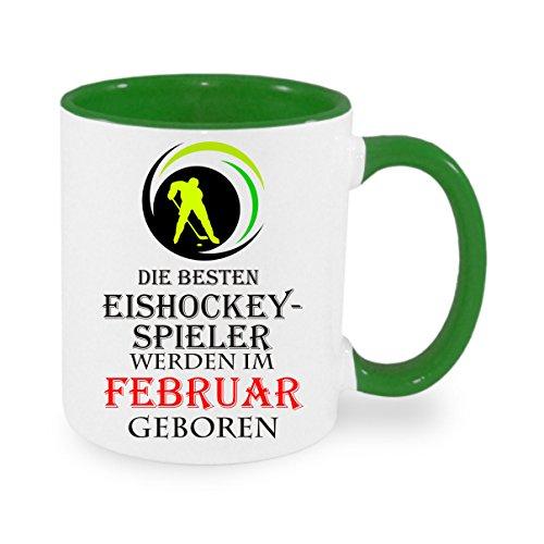 Die besten Eishockey-Spieler werden im Februar geboren - Kaffeetasse, bedruckte Tasse mit Sprüchen...