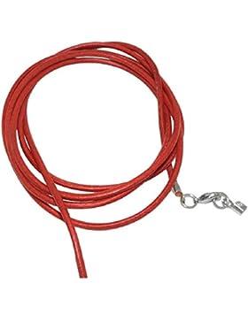 Unbespielt Lederband Kette Collier Halskette Rot Damen Herren Kinder Karabinerverschluss Silberfarben 1m Lang...