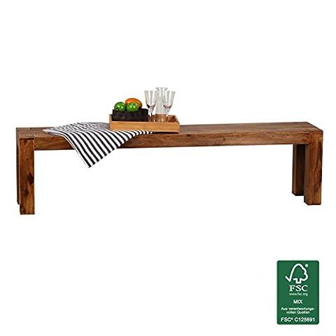 FineBuy Esszimmer Sitzbank Massiv-Holz Sheesham 180 x 45 x 35