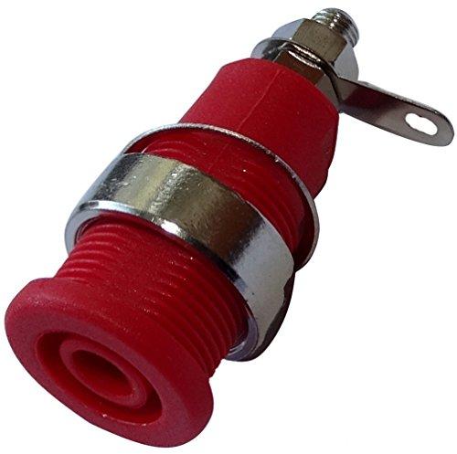 Aerzetix: 5 X Stecker Banana Buchse weiblich rot 4 mm 32 A 23,5 mm M12 vernickelt C14381