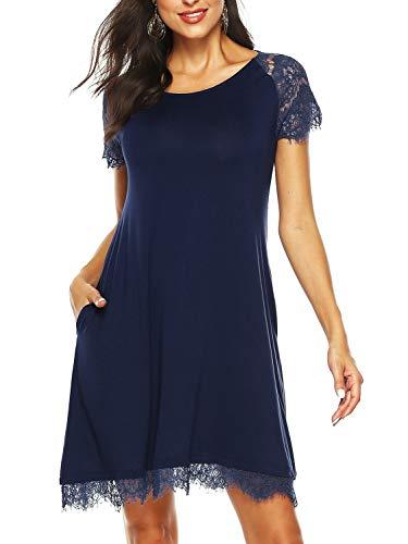 Beluring Damen Casual Langes Shirt Lose Tunika Kurzarm T-Shirt Kleid Spitzkleider Königsblau M - Spitzen Kragen Kleid Shirt