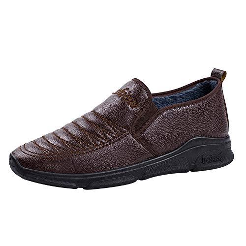 UFACE Vintage Herren Leder Flache Schuhe Warm Cotton Round Toe Formelle Business Schuhe