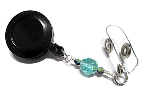 atlanyards Light Teal mit Öl Slick Akzente Perlen ID Ausweishalter, einziehbar Arbeit Lanyard, Perlen 92 (Christmas Light Reel)