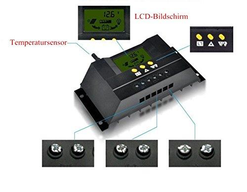 MCTECH Solar-Laderegler 40A PWM LCD Display Solar Panel Regler Solarsteuerung Regler mit Temperatursensor Für Solarmodul Solarpanel Spannungs steuerung (40A) -