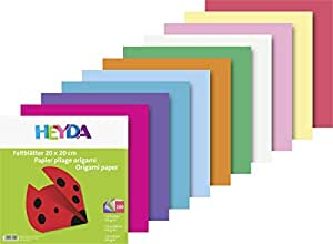 Heyda 204875520 - Carta per origami, 20 x 20 cm, 60 g/mq, 100 fogli, colori assortiti