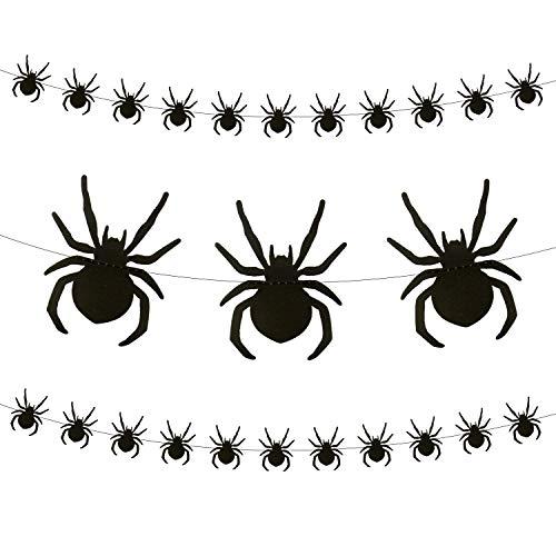 Oblique Unique® Spinnen Girlande mit ca. 28 Spinnen 3m Schwarz Deko für Halloween Party Fasching Karneval Dekoration zum Gruseln und Erschrecken